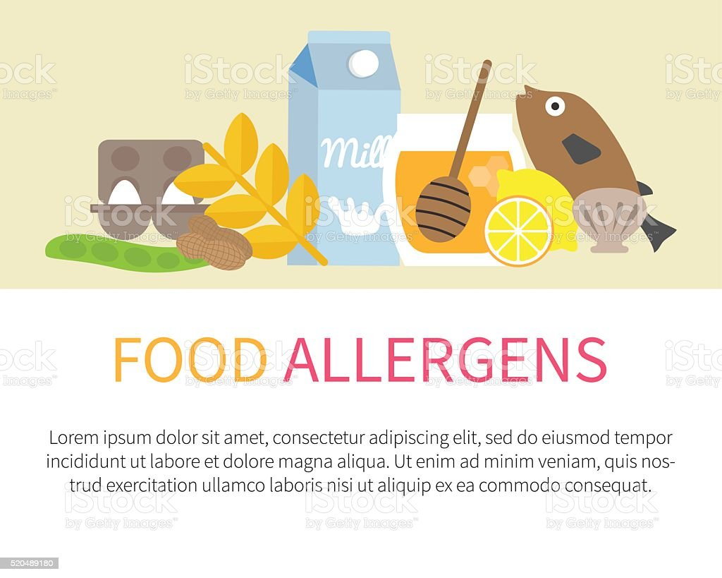 Food allergens vector vector art illustration