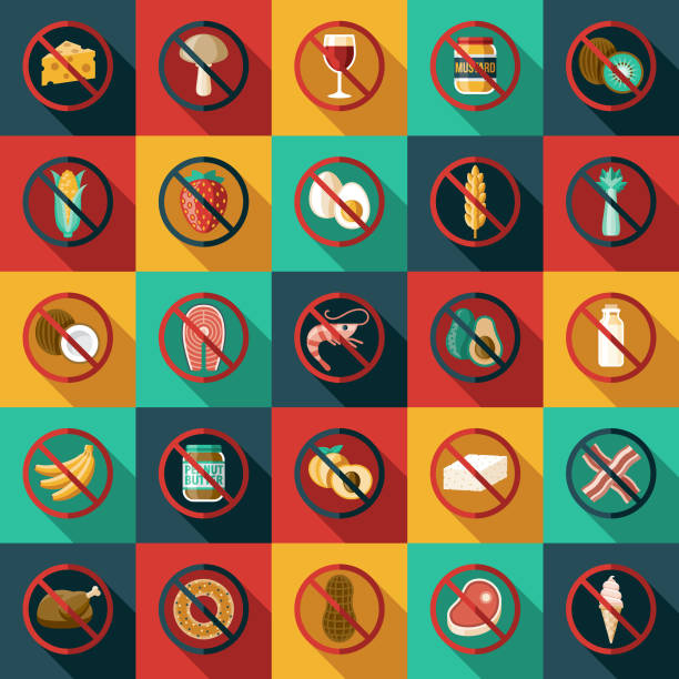ilustraciones, imágenes clip art, dibujos animados e iconos de stock de alergias alimentarias y sensibilidades icono conjunto - alergias alimentarias