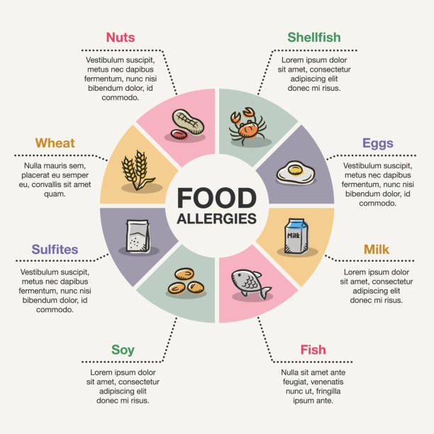 Food allergies vector art illustration