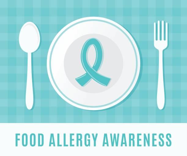 ilustraciones, imágenes clip art, dibujos animados e iconos de stock de alimentos alergia conciencia teal de cinta con plato, cuchara y tenedor. - alergias alimentarias
