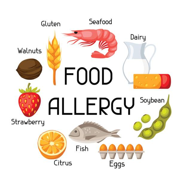 Food allergy background with allergens and symbols. Vector illustration for medical websites advertising medications vector art illustration