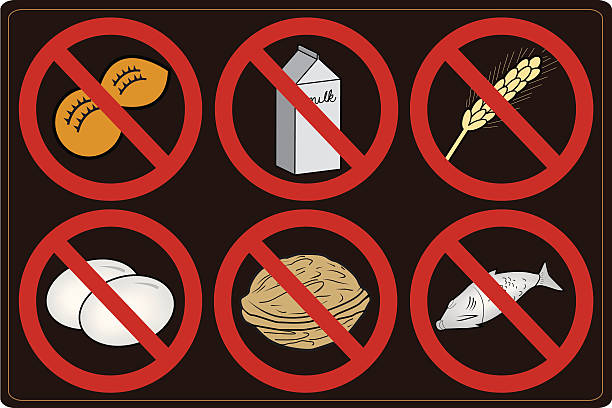 Food Allergy Icons vector art illustration
