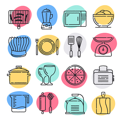 Food Allergy Practices Doodle Style Vector Icon Set