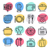 Food allergy practices doodle style concept outline symbols. Line vector icon sets for infographics and web designs.
