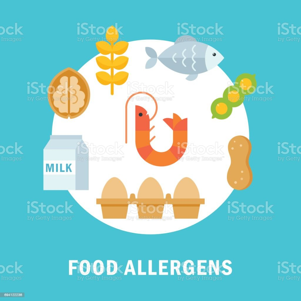 Food Allergy Triggers or Allergens Illustration vector art illustration