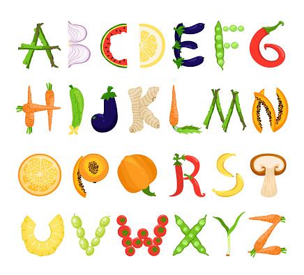 Food alphabet tasty set, font typography collection