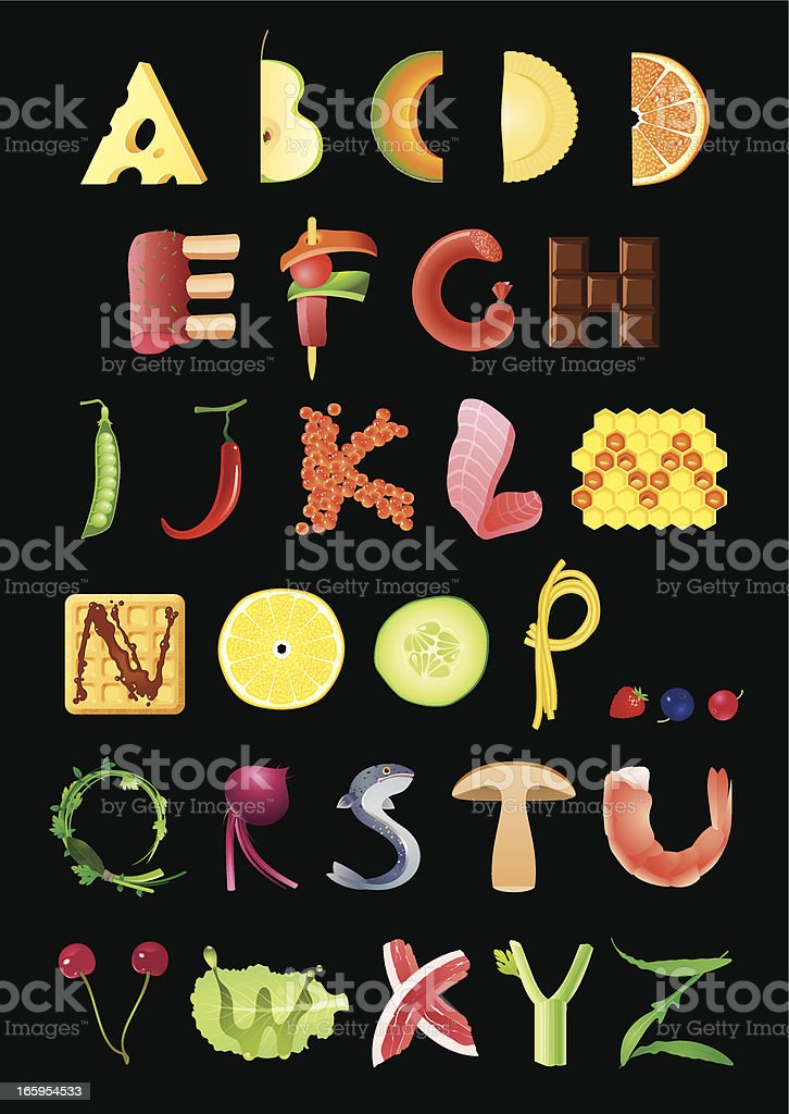 Food Alphabet royalty-free stock vector art