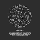 Food and beverage doodle drawing background vector illustration circle element objects