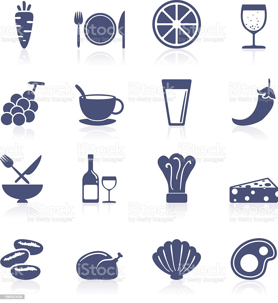 Food and beverage icon collection royalty-free stock vector art
