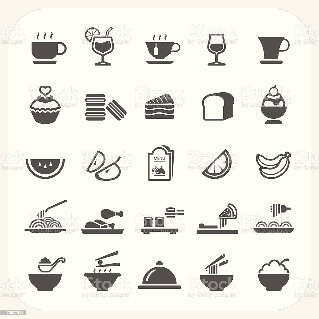 Food and Beverage icons set vector art illustration