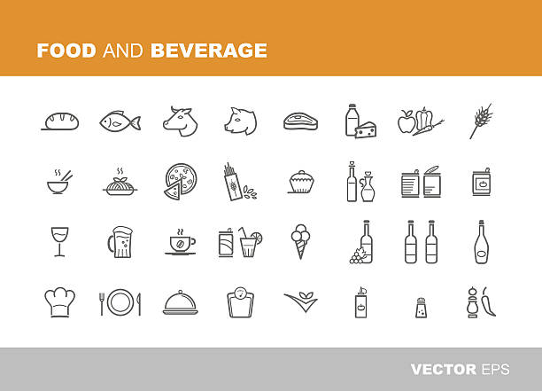 stockillustraties, clipart, cartoons en iconen met food and beverage icons - gemaksvoedsel