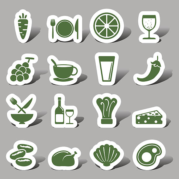 Food and beverage interface icons Food and beverage interface icons champaign illinois stock illustrations