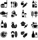 Collection of food and beverages icons - vector illustration