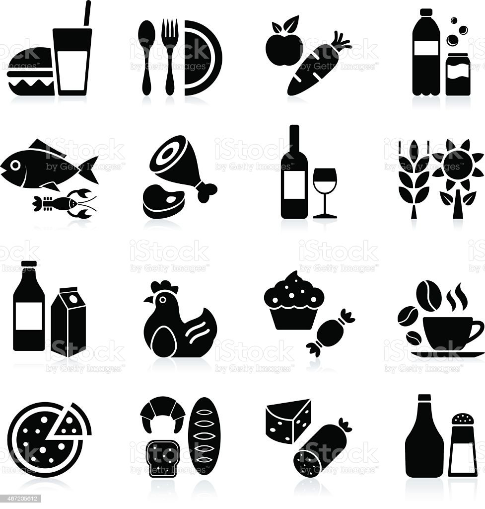 Food and Beverages - icon set vector art illustration