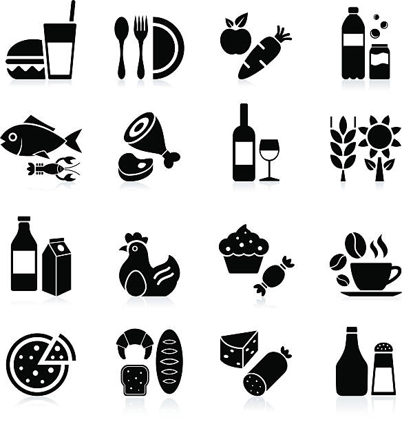 illustrations, cliparts, dessins animés et icônes de repas et boissons-icon set - aliments crus