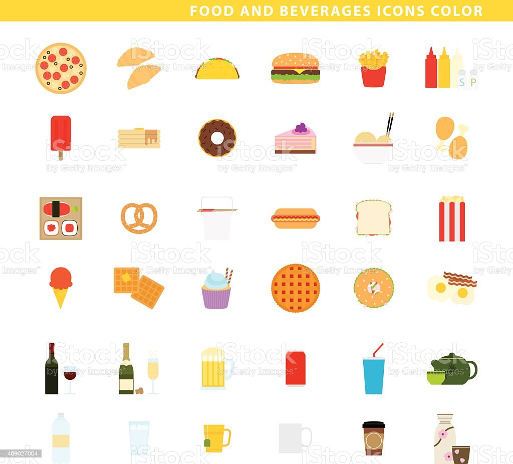 Food and beverages icons color. vector art illustration