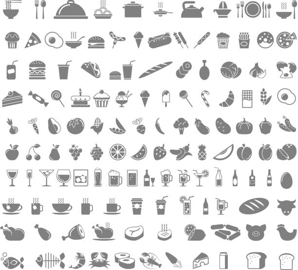 food and beverages icons - food and drink stock illustrations, clip art, cartoons, & icons