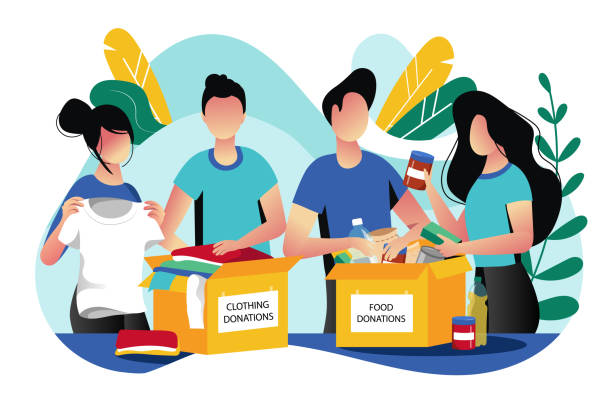 Food and clothes donation. Vector flat illustration. Social care and charity concept. Volunteer collect donations Food and clothes donation. Vector flat illustration. Social care and charity concept. Volunteer people collect donations into boxes. charity stock illustrations