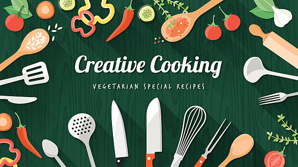 Food and cooking banner Vegetarian and vegan food recipes banner with kitchenware, utensils and chopped vegetables, copyspace at center cooking utensil stock illustrations