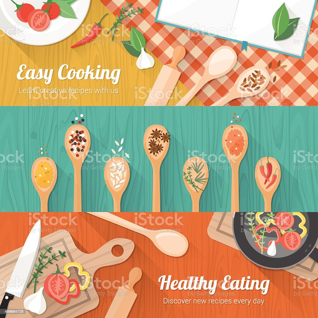 Food and cooking banner vector art illustration