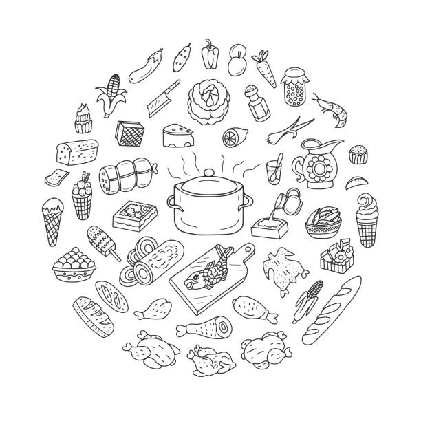 Food and Cooking Doodles Set Different food and cooking. Vector illustration. Doodle set. cooking drawings stock illustrations