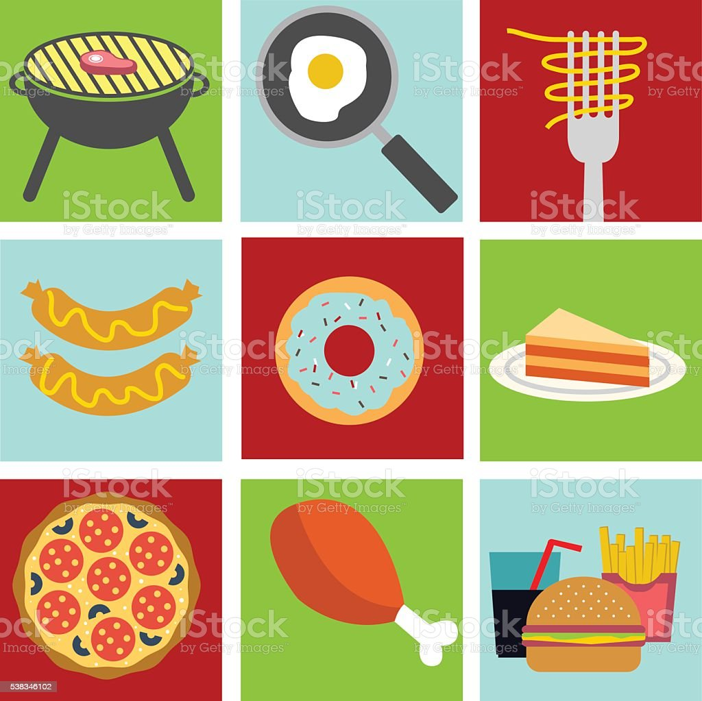 Food And Cooking Flat Icons Of Symbols For Culinary Theme Stock