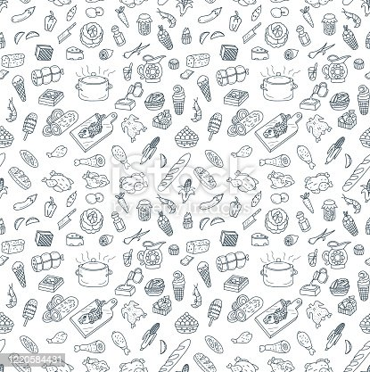 istock Food and Cooking Seamless Pattern Doodles 1220584431