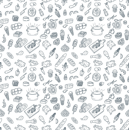 Food and Cooking doodles seamless pattern background. EPS8