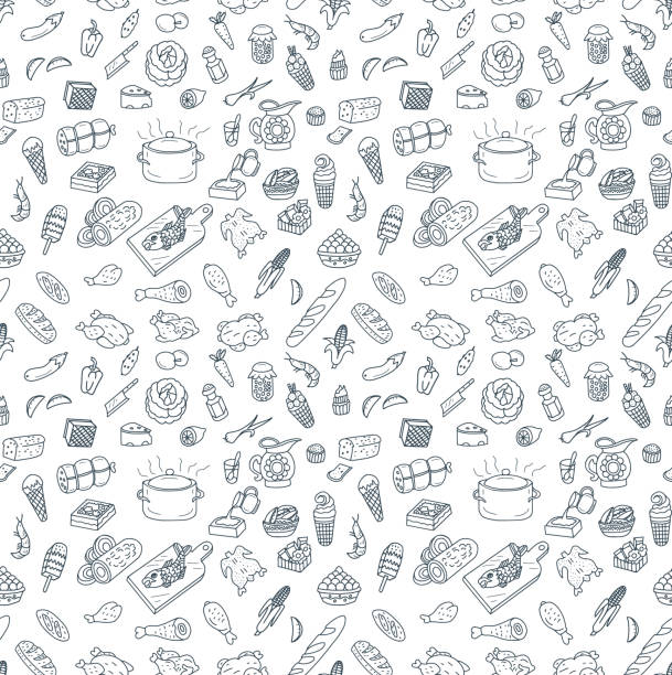 stockillustraties, clipart, cartoons en iconen met eten en koken naadloze patroon doodles - meat pan