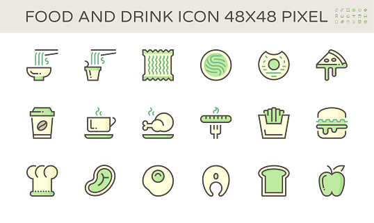 Food and drink and coffee vector icon set design,  48X48 pixel perfect and editable stroke.