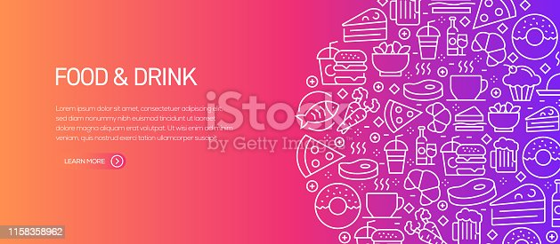Food and Drink Banner Template with Line Icons. Modern vector illustration for Advertisement, Header, Website.