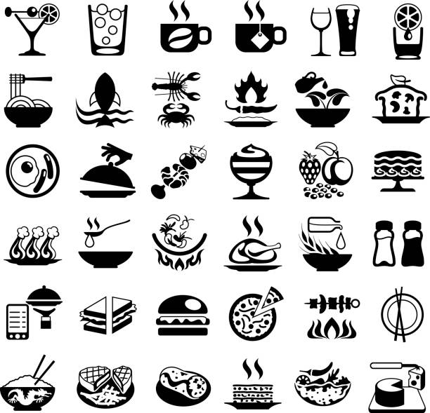 Food and Drink Black Icons vector art illustration