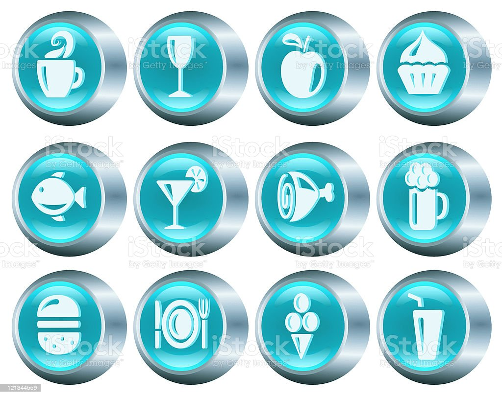 Food and drink buttons royalty-free stock vector art