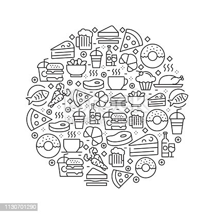 Food and Drink Concept - Black and White Line Icons, Arranged in Circle