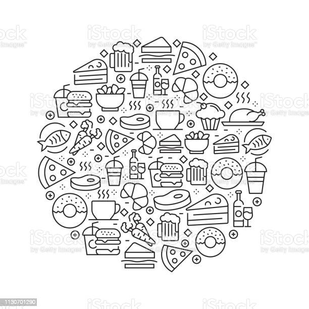 Food and drink concept black and white line icons arranged in circle vector id1130701290?b=1&k=6&m=1130701290&s=612x612&h=34ugqnnd0it2 d5kg4bb0w2kjy54mb t6g6or99dhv8=