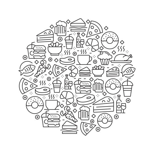 Food and Drink Concept - Black and White Line Icons, Arranged in Circle Food and Drink Concept - Black and White Line Icons, Arranged in Circle cooking patterns stock illustrations