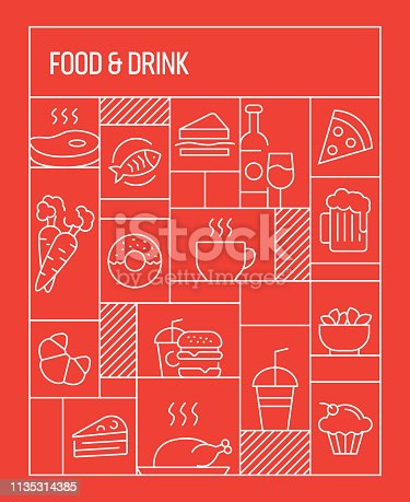 Food and Drink Concept. Geometric Retro Style Banner and Poster Concept with Food and Drink Line Icons