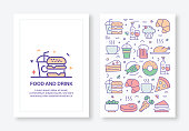 Food and Drink Concept Line Style Cover Design for Annual Report, Flyer, Brochure.