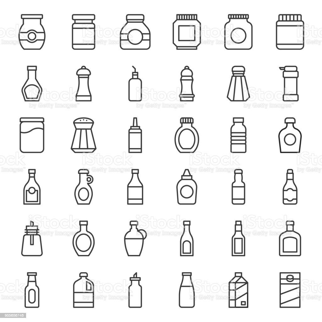 Food and drink container outline icon, such as salt shaker, olive oil bottle, peanut butter jar, jam glass bottle, milk carton, maple syrup, sauce, wine, soy sauce - Grafika wektorowa royalty-free (Alkohol - napój)