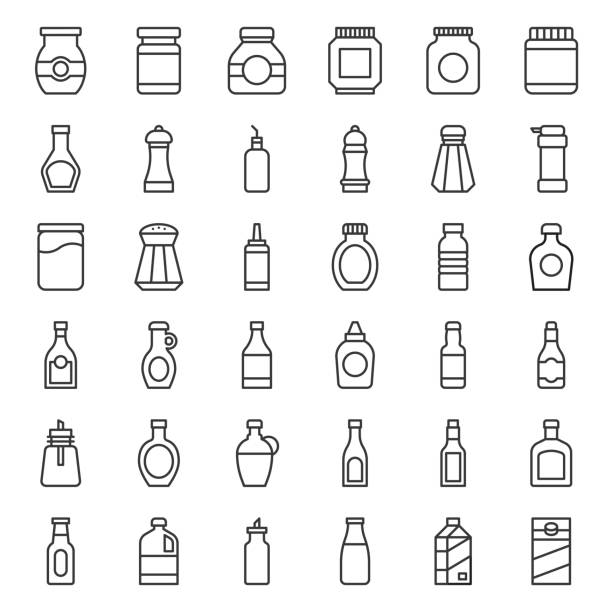 food and drink container outline icon, such as salt shaker, olive oil bottle, peanut butter jar, jam glass bottle, milk carton, maple syrup, sauce, wine, soy sauce - zbiornik wytworzony przedmiot stock illustrations