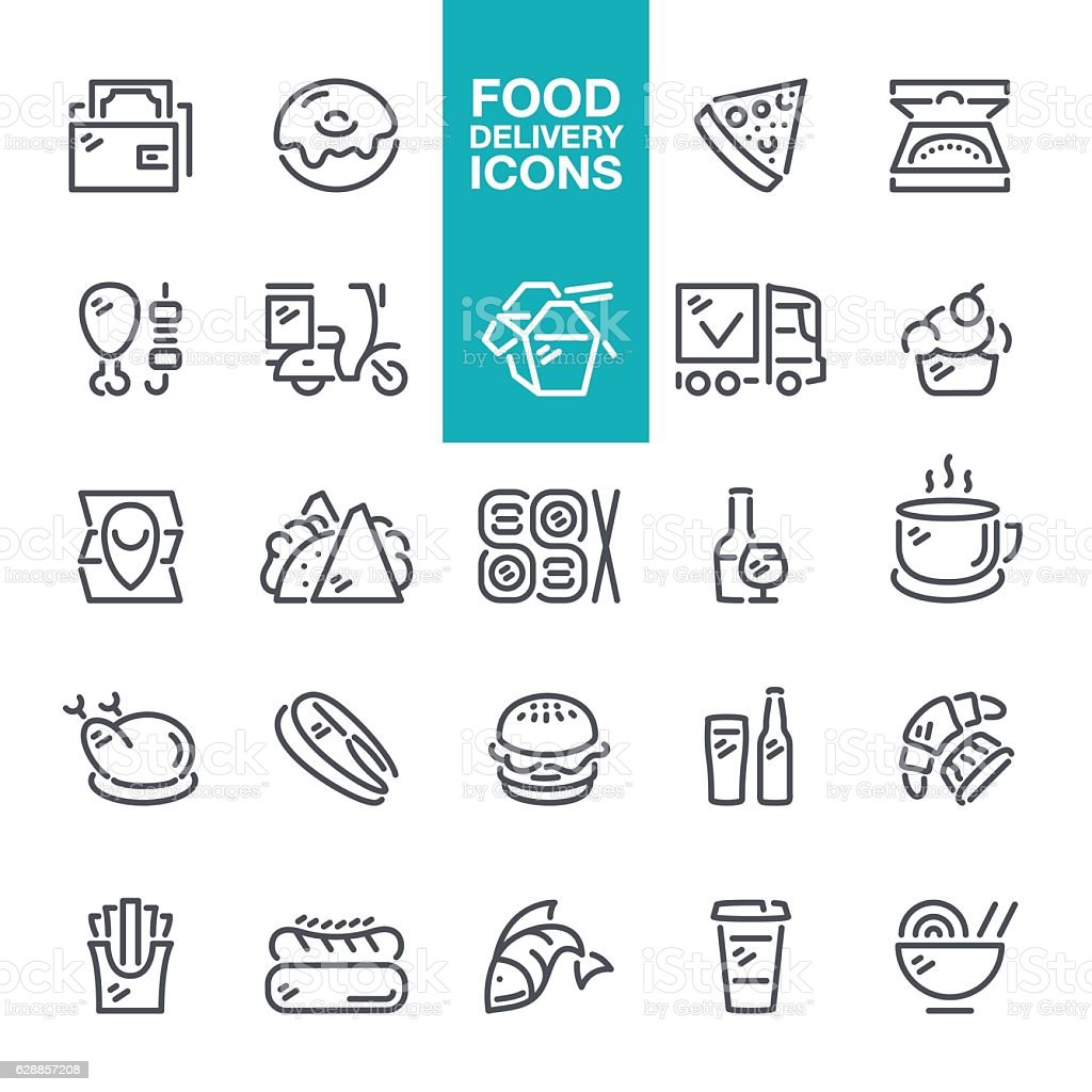 Food and Drink delivery line icons vector art illustration