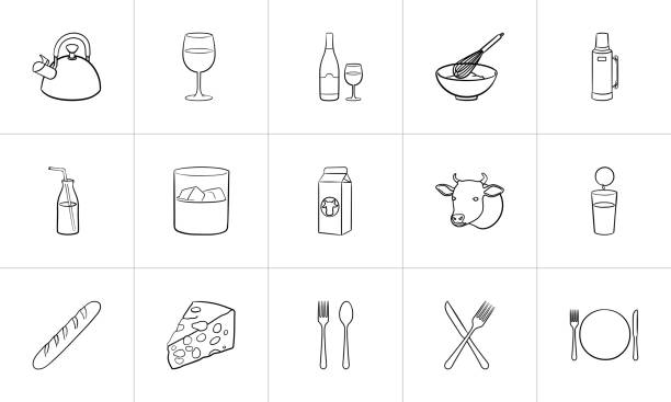 Food and drink hand drawn sketch icon set Food and drink outline doodle icon set for print, web, mobile and infographics. Hand drawn food and drink vector sketch illustration set isolated on white background. drawing of a glass liquor flask stock illustrations