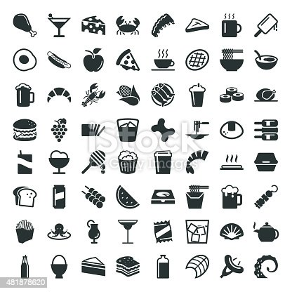 Food and Drink Icon 64 Icons Vector EPS File.
