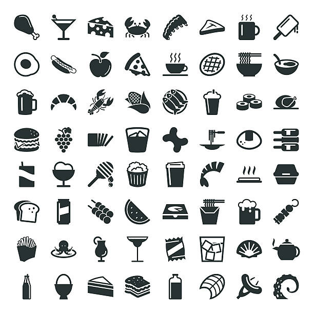 Food and Drink Icon 64 Icons vector art illustration