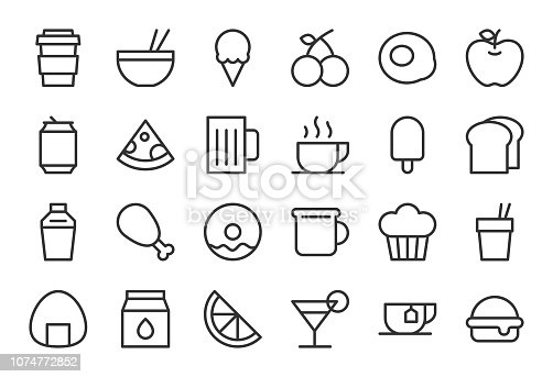 Food and Drink Icon Set 1 Light Line Series Vector EPS File.