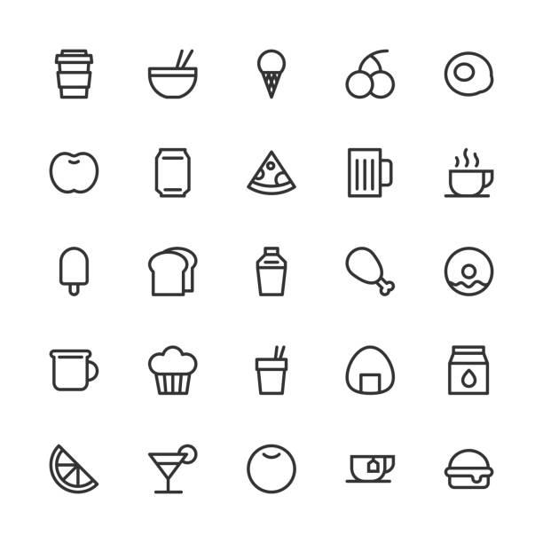 essen und trinken-icon-set 1 - line serie - tassenkuchen stock-grafiken, -clipart, -cartoons und -symbole