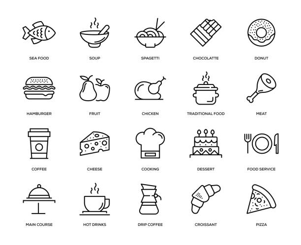 stockillustraties, clipart, cartoons en iconen met eten en drinken icon set - meat pan