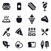 Food, eating and drinking icon and symbol set.