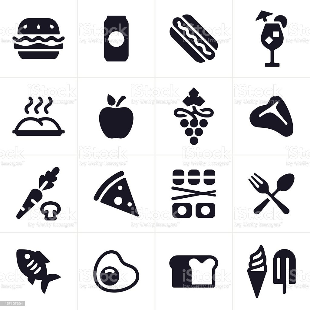 Food and Drink Icons and Symbols vector art illustration