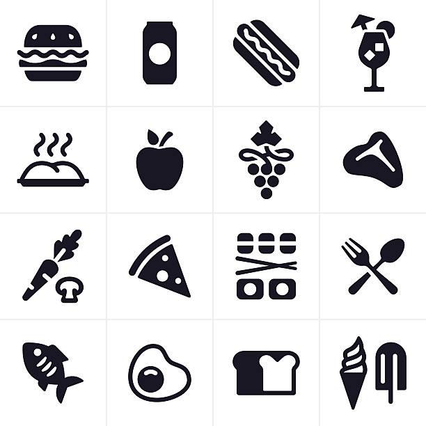 essen und trinken-icons und symbole - portion stock-grafiken, -clipart, -cartoons und -symbole
